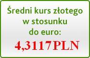 Średni kurs złotego w stosunku do euro: 4,3117 PLN